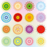Big set with colorful ornaments. In the form of mandalas Royalty Free Stock Images