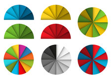Big set of colorful pie diagrams with shadow and 3d effect Stock Photography