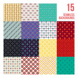 Big set of 16 colorful pixelated patterns. Childish style. Useful for wrapping and textile design Stock Image