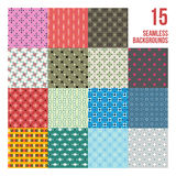 Big set of 16 colorful pixelated patterns. Childish style. Useful for wrapping and textile design Royalty Free Stock Images