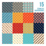 Big set of 16 colorful pixelated patterns. Childish style. Useful for wrapping and textile design Royalty Free Stock Image