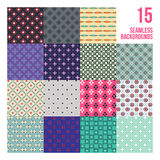 Big set of 16 colorful pixelated patterns. Childish style. Useful for wrapping and textile design vector illustration