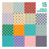 Big set of 16 colorful pixelated patterns. Childish style. Useful for wrapping and textile design stock illustration