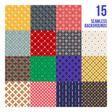 Big set of 16 colorful pixelated patterns Stock Image