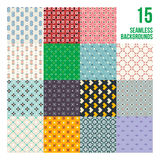 Big set of 16 colorful pixelated patterns. Childish style. Useful for wrapping and textile design royalty free illustration