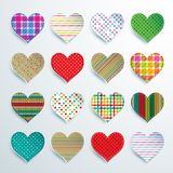 Big set of 16 colorful scrapbook hearts. Of checkered, polka dots, stripes royalty free illustration