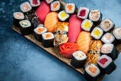Big set of colorful sushi rolls royalty free stock photos