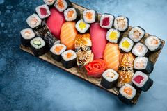 Big set of colorful sushi rolls royalty free stock images