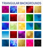 Big Set of colorful vector triangular backgrounds. Geometric background in Origami style with gradient. Vector design for your background, cover, poster Stock Image