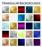 Big Set of colorful vector triangular backgrounds. Geometric background in Origami style with gradient. Vector design for your background, cover, poster Stock Images