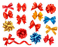 Big set of colour gift bows with ribbons. Royalty Free Stock Photos