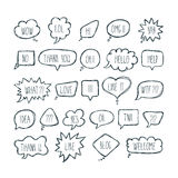 Big set of comic bubbles with short messages. Hand drawn speech Stock Image