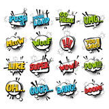 Big set comic text speech bubble phrase Royalty Free Stock Images