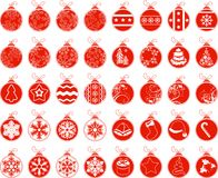 Big set with contour stylized Christmas balls Royalty Free Stock Photography
