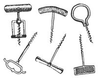 Big set of corkscrew in vintage old engraving style, hand drawn in scratchboard  classic Stock Image