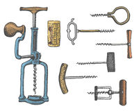Big set of corkscrew in vintage old engraving style, hand drawn in scratchboard Royalty Free Stock Photography