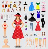 Big set for creation unique female character. Full body, legs, a. Rms, face, eyes, eyebrows, hairstyle, lips, clothes, shoes, accessories isolated on white royalty free illustration