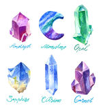 Big set of crystals in watercolor. Stones of amethyst and glass polygons, pebbles and other hand made. Royalty Free Stock Photos