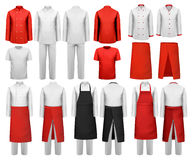 Big set of culinary clothing, white and red suits Royalty Free Stock Photos