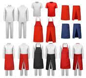Big set of culinary clothing, white and red suits and aprons. Royalty Free Stock Photo