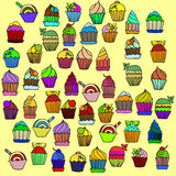 Big set of cupcakes. vector Stock Photo