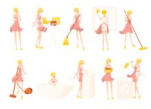 Big set with cute blonde girl cleaning lady in pink bathrobe royalty free illustration