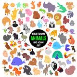 Big set of cute cartoon animal icons  on white background. Vector illustration. Child fun pattern sticker. Kids collection. Wild safari fauna design. Sea and Royalty Free Stock Photos