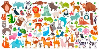 Big set of cute cartoon animals. Vector illustration