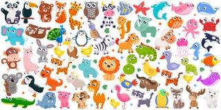 Big set of cute cartoon animals. Vector illustration