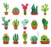 Big set of cute cartoon cactus and succulents with funny faces. Cute stickers or patches or pins collection. plants are Stock Photos