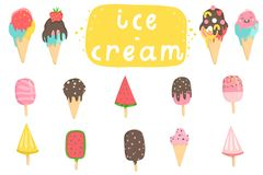 Big set of cute cartoon ice creams stickers. Cute illustrations of ice cream can be used as stickers, patches or pins collection and more vector illustration