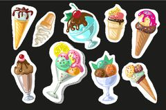 Big set of cute cartoon ice creams stickers. cute stickers, patches or pins collection Royalty Free Stock Photos
