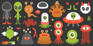 Big set of cute character of aliens and monsters with element such as tentacle. Legs, eye, ear and color palette, suitable for design in game application of Royalty Free Stock Images