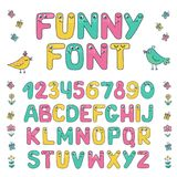 Kids alphabet with eyes and numeral. Big set of cute colorful smiling number characters from 0 to 9 and Kids alphabet with eyes. Funny Font. Cartoon vector Stock Photography