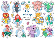 Big set of cute fantastic animals and characters as zodiac signs. Big set sticker of cute fantastic animals and characters as zodiac signs. Kids horoscope Stock Photo