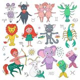 Big set of cute fantastic animals and characters as zodiac signs. Kids horoscope. Vector illustration in cartoon style on white background. Design elements for Royalty Free Stock Photography