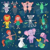 Big set of cute fantastic animals and characters as zodiac signs. Kids horoscope. Vector illustration on night sky background with stars. Design elements for Stock Photos