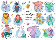 Big set of cute fantastic animals and characters as zodiac signs. Kids horoscope. Vector illustration on white background. Size A4. Design elements for Stock Images
