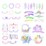 Big set of cute floral design elements. Stock Photo