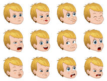Big set of cute little boy faces showing different emotions vector illustration Royalty Free Stock Images