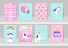 Big set of cute unicorn cards. Motivational and inspirational po