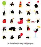 Big set of cute vector penguins stock illustration