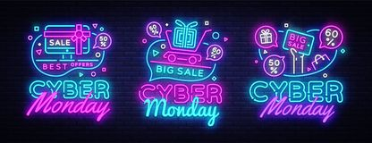 Big set Cyber Monday, Vector illustration discount sale concept in neon style, online shopping and marketing concept Royalty Free Stock Photography