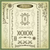 Big set of decorative design elements, vintage Stock Image