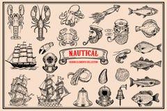 Big set of design elements for nautical emblems, seafood restaurant. Vector illustration royalty free illustration