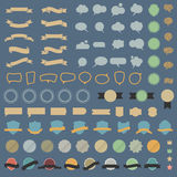 Big set of design elements and speech bubblesin retro colors Stock Photo