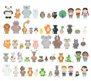 Big set of different animals. Zoo animals from different Continents. A variety of fauna. Vector cartoon Stock Images