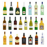 Big set of different bottles. Of hot drinks vector flat design illustration isolated on white background Stock Photos