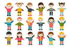 Big set of different cartoon children figures. Boys and girls on a white background. Minimalistic flat modern icon set portraits. Royalty Free Stock Photo