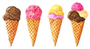 Big set of different chocolate ice cream cones in waffle, watercolor clip art stock illustration